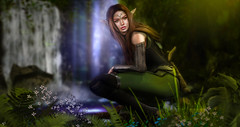 Tauriel (meriluu17) Tags: elf elven tauriel fantasy surreal woods forest archer bow magical green waterfall people wild grass
