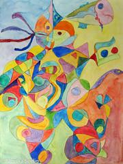 Hummerquadrille (Monika Seelig) Tags: 2018 monikaseelig watercolor kunst art aquarelle