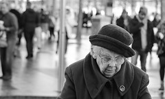 7J8A0248-1 (Zaplita) Tags: hat glasses woman grandma people face skin character black white expression impression moment street photography unique queen sharp bokeh