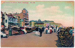 Hastings - Bandstand and White Rock Prior to 1908 (pepandtim) Tags: postcard old early nostalgia nostalgic hastings bandstand white rock 1908 london view co 12091908 32hba99 brent miss guildford street brighton pencilled cissie daisy winston churchill clementine hozier house party blenheim palace temple diana deckchairs hotel