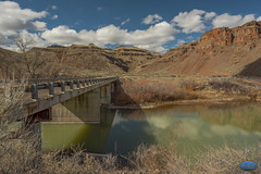 Over and into the Owyhee's (TheArtOfPhotographyByLouisRuth) Tags: outdoor owyhees oregonstateparks mountain mountainside morninglight water winterphotos waterreflections river rocks hills landscape louisruthphotography landscapephotography artofimages usriverscreekswaterfallsandlakes beautifulcapture bridge bridges bridgephotography landscapes