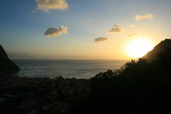 St Lucia, sunset Soufriere (h_savill) Tags: 2019 february feb caribbean st lucia antilles windward isles holiday trip vacation exploreworldwide travel view landscape island soufriere piton green stlucia town buildings bay sea water coast ocean hills sunset sun light evening