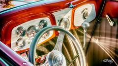 Red V-8 Interior (dougkuony) Tags: coffeecruise hdr v8 v8interior dashboard hotrod red steeringwheel streetrod