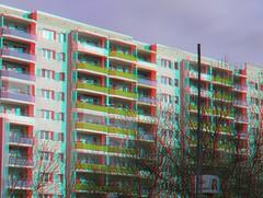Wohnblocks am Helene-Weigel-Platz (Rolf Marquardt) Tags: 3d stereo anaglyph rotcyan redcyan marzahn berlin alleederkosmonauten plattenbau