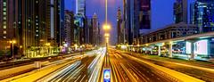 Dubai - Sheikh Zayed Road (mccrya) Tags: dubai longexposure lighttrails arhitecture skyline sony a6000 ngc flickr travel 2019 night blue hour