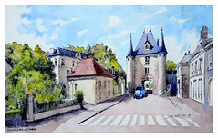 Villeneuve sur Yonne - Bourgogne - France (guymoll) Tags: googleearthstreetview villeneuve villeneuvesuryonne france croquis sketch aquarelle watercolour watercolor aguarela acuarela porte architecture bourgogne