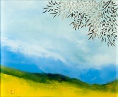 "Gallery Gonski, ""Golden Pathway"", Glass Oil Painting by Mimi Marjanović-Gonski 2018/2019 (GALLERY GONSKI) Tags: gallerygonski gonski glass gallery glassoilpainting glassoilpaintingbymimimarjanovicgonski art artpainting artofoilcolorspainting artgallery colors landscape goldenpathway goldenpathwaybymimimarjanovićgonski oilcolors oilpainting oilcolorspainting oilonglass mimimarjanovićgonski sky grass apples appletree tree clouds bluesky"