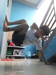 Jam's morning exercise. He is crazy. (ghostgirl_Annver) Tags: asia asian boy teen preteen exercise strong morning school uniform