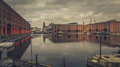 Liverpool (Ian Emerson (Thanks for all the comments and faves) Tags: liverpool royalalbertdock england docks boats liverbuilding narrowboat clouds reflection architecture indusrty water merseyside outdoor jetty warehouse tourism canon6d omot