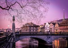 Zurich in Pink (Matthew Bickham) Tags: zurich city sunset switzerland pink