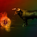 Black bull with Bitcoin in fire on colorfull background