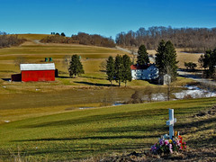 Cross & Red Barn (George Neat) Tags: trees farm fields barn buildings structures south huntingdon twp township cross westmoreland county pa pennsylvania laurelhighlands landscapes scenic scenery outside georgeneat patriotportraits neatroadtrips