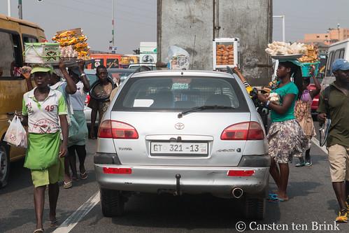 Street vendors in traffic