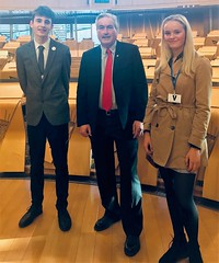 With Dunbar pupils Alex and Zola at Holyrood
