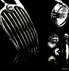 Black Jag. (ren.art) Tags: black white reflections composition abstract art creative closeup car edited painting