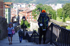 Pilgrim to Santiago in Mallona (Iker Merodio | Photography) Tags: donejakue erromes pilgrim santiago mallona begona bilbao bizkaia biscay basque country euskadi pentax k50 sigma 30mm art stairs