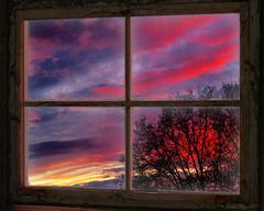 Winterabend (Dieter Meyer) Tags: himmel wolken abendrot fenster window sky clouds
