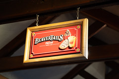 Banff, Alberta Canada - Janurary 19, 2019: Sign for BeaverTails, a famous pastry and coffee shop located in Canada, very popular treat with tourists (m01229) Tags: view night sugary street icecream desserts donuts treats maple filling streetphotography banff famous summer urban beavertails food travel canadian alberta city coffeeshop canada sign tourism pastry downtown