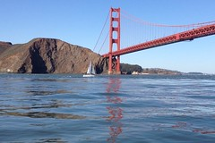 Sailboat going under the Golden Gate Bridge (kathleen.deadder) Tags: goldengate bridge sailboat marin bay northerncalifornia water sailing boating boat pacific goldengatebridge ocean