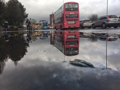 20190306 Rainyday reflection (an_extract_of_reflection) Tags: belfast morning reflection rain water puddle traffic cars bus street road iphone