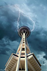 Space Needle Under Clouds (dbvirago) Tags: above below high icon iconic landmark perspective round seattle spaceneedle tower view unitedstates us usa washington needle nature outdoors storm lightning thunderstorm