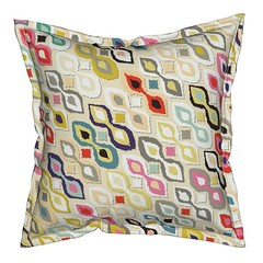 ikat ice cream serama throw pillow (Scrummy Things) Tags: sharonturner pattern indian ikat summer diagonal serama pillow throwpillow spoonflower roostery icecream cream multicolored multicoloured scrummy