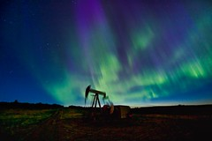Aurora night in May (John Andersen (JPAndersen images)) Tags: abandoned airdrie alberta aurora canon cold constellations farm night oil pond sky spring stars