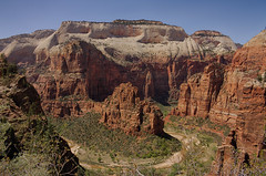Zion National Park, Main Valley with West Rim and Angels landing (swissuki) Tags: 2015 mainvalley observationtrail zion national park landscape nature mountain rock redrock virginriver breath taking landscapes