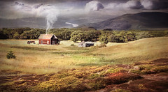 The Old Farmhouse (jarr1520) Tags: sky clouds valley river water composite textured mountains hills fields farmhouse buildings fence