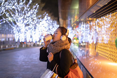 Woman drinking coffe and listening to music at Christmas night (Apricot Cafe) Tags: ap2a8081 asia asianandindianethnicities christmas christmastree japan japaneseethnicity minatoward roppongi sigma35mmf14dghsmart tokyojapan capitalcities carefree casualclothing christmasdecoration christmaslights citylife citystreet coatgarment coffee colorimage consumerism copyspace cup drinking enjoyment happiness headphones illuminated leisureactivity lifestyles listening music night oneperson onewomanonly onlywomen outdoors people photography realpeople scarf shopping shoppingbag sideview smiling toothysmile waistup winter women youngadult