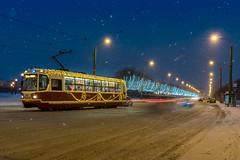 Tram N 3 (andrius_) Tags: lights garland lantern winter twilight bluehour christmas dusk snow