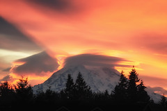 Mount Rainier Solstice (TroyMasonPhotography) Tags: cloud lenticular lenticularcloud lightray morning mountrainier mountain spaceship spanaway sunrise weather pacificnorthwest clouds storm washington tacoma seattle glacier snow rain cascades livelikethemountainisout southsoundproud