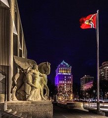 St. Louis War Memorial 2 (Michael Shoop) Tags: michaelshoop stlouis saintlouis missouri usa canon canon7dmarkii warmemorial artdeco night statue wwi worldwar1