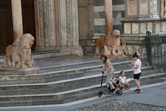 Bergamo (MinaF77) Tags: kids bambini monopattino italy art church cathedral playing churchyard