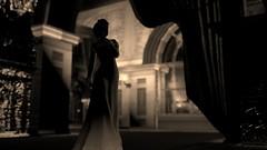 Long ago at the opera... (Myra Wildmist) Tags: secondlife sl myrawildmist virtualart virtualphotography virtualworlds oldfashioned sepia dof gown opera theatre theater ball