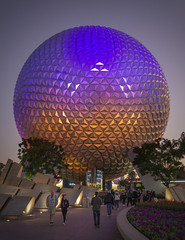 Spaceship Earth at Epcot (jtgfoto) Tags: approved epcot disney waltdisneyworld disneyworld geodesicsphere sphere spaceshipearth florida travel evening dusk sonyimages sonyalpha attraction