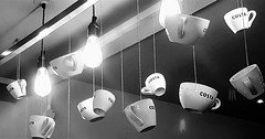 Canopy of Costa Cups (Gilli8888) Tags: cameraphone samsung s7 blackandwhite tyneandwear northshields buildings inside coffee cups costa coffeeshop light canopy royalquays quays shoppingcentre