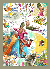 feeling time growing (jasoux) Tags: art drawing sketch surreal surrealism whimsy cartoon painting watercolor watercolour paint freeassociation artwork phantasmagoria phantasmagory