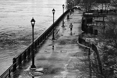 Down by the River (Kenneth Laurence Neal) Tags: newyorkcity urban cities water streetlamp people park running blackandwhite blackdiamond monochrome monotone nikond7100 nikon sigma175028 street streetphotography absoluteblackandwhite