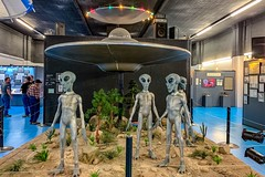 Illegal aliens not to be messed with.  Exhibit at the International UFO Museum, Roswell, New Mexico. (lhboudreau) Tags: extraterrestrials extraterrestrial et spacemen spaceman attraction exhibit internationalufomuseum ufomuseum museum fromouterspace littlegreenmen greenmen roswell newmexico flyingsaucer ufo aliens alien spaceship oddity bizarre odd weird
