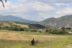 Bicycle rider,  foothills of Riff Mountains (Buster&Bubby) Tags: maroc morocco chefchaouen bicycle bicyclerider