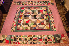 Flowering Snowball Patchwork Quilt Laid Out (The Rustic Frog) Tags: warwickshire uk england midlands hand made quilt double bed stitched sewn handmade machine flowering snowball template templates size medium large patchwork cotton padding