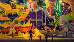 New York (KennardP) Tags: mural colors graffiti art newyork newyorkcity cityatnight citylights nightlights people nyc nightphotography ny canoneosr rf50mmf12lusm canonrf50mmf12l canonrflens road walkway sidewalk