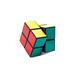 Rotated Rubik's cube 2x2x2 on white background