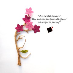 haiku (-sebl-) Tags: haiku origami lokta paper japan flower face sebl fold perfume white pink cherry blossom