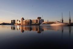 Blue lagoon (S Clark) Tags: newham blue sunset royalvictoriadock docklands pontoondock eastlondon london londonist londonlife fujifilm fujilovers fujifilmxt100 timeoutlondon calmness