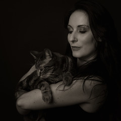 Jenny (bcud14) Tags: woman studio portrait cat blackandwhite monochrome dark lowkey square standing