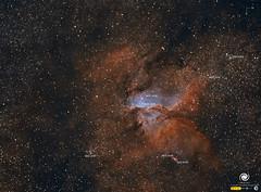 NGC 6193 y NGC 6188 (versión anotada) (StarryEarth) Tags: ngc6193 nebulosa star cluster cumulo estelar galáctica via láctea milky way estrella norma ara constelación constellation