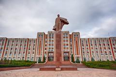 Government Building - Tiraspol (Tom Peddle) Tags: transnistria transdniestr pridnestrovian moldavian republic breakaway tiraspol government building hammer sickle lenin statue communist communism