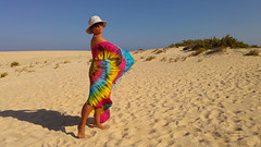 Windy Fuerte (piotr_szymanek) Tags: fuerteventura marzka woman milf outdoor beach blue sky sand hat glasses sunglasses naturist 1k 20f 5k
